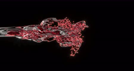 paint splash : Red wine stream realistic animation Stock Footage