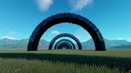 dynamic abstract : Entering black tunnel in middle of valley animation