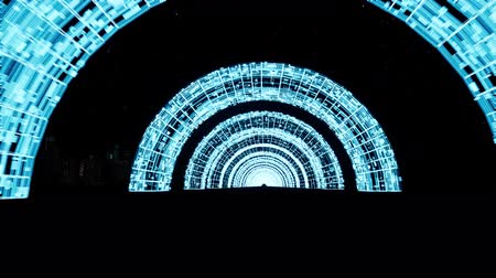 célere : Moving through neon arches 3d footage Vídeos