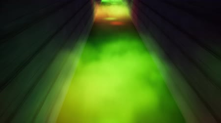 desolate : Dark corridor with colorful illumination animation Stock Footage