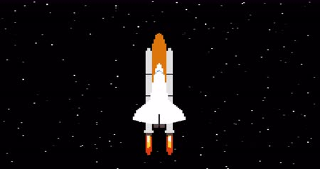 giochi : Shuttle in space pixel art looped animation Filmati Stock