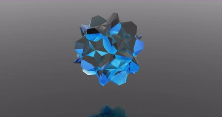 сферический : Blue crystal sphere consisting of geometric shapes 3d rendering animation