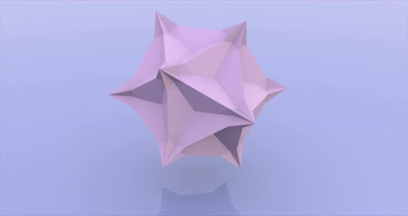 оригами : Pink sphere consisting of triangles rotation 3d rendering animation