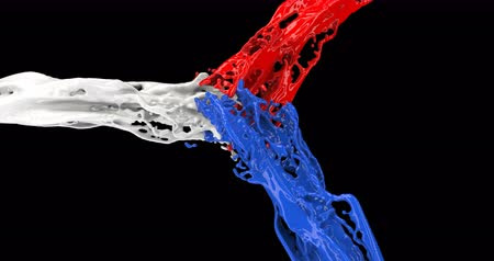 splattered : Colored jets of paint. The red, white, and blue fluids collide and mix. Different color splashes on black. CG animation of splashes of paint in slow motion.