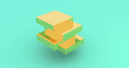 oneindig : Light gold cube rotating 3d footage. Isometric block assembly motion. Cube parts moving and shifting isolated on blue background rendering animation. Geometric shape construction looped 4k