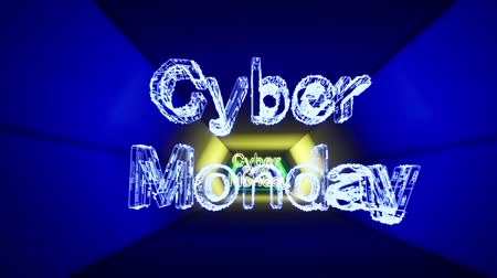 チラシ : Black cyber monday neon on light tunnel background. Cyber Monday animation design. Cyber monday neon concept. Banner sale tag. Night club neon sign. Digital design. 動画素材