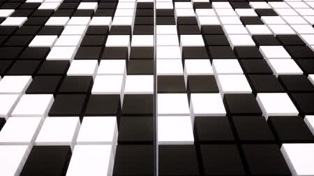 alaşım : Black and white boxes animation. Stylish pattern for decorative design. Grey white texture. Cool abstract background tile. Stok Video