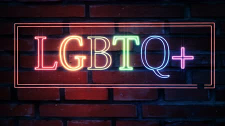senhor : LGBTQ plus neon sign blinks and sparkles with stars on a brick wall background