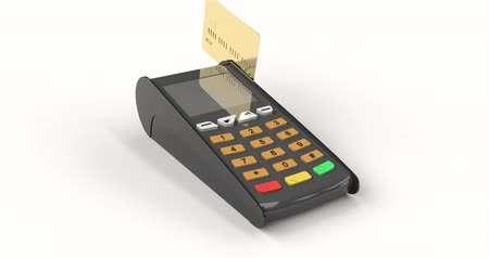 quittung : Payment terminal mock up. Payment by gold credit card. Online transaction.