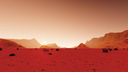 asteroid : Mars surface on dark background. Desert, sand. Alien landscape. Planet earth. Red planet mars. Stock Footage