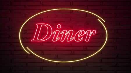 órák : Diner neon sign on the brick wall.. Retro light sign. Food background. American food. Dark background. Black friday background. Pink background. Night club neon sign.