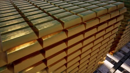 skarb : 3d gold bars for concept design. Market trade. Background 3d. Financial concept. background. Business concept. Stock exchange. Golden background. Money exchange. White background. Wideo