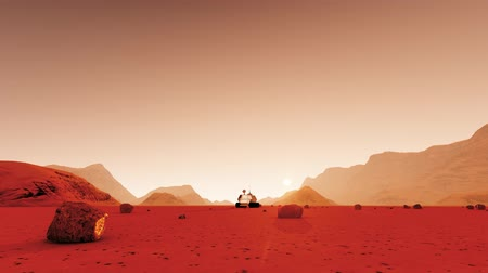 bouře : 3d illustration with red landscape mars on dust dark background. Travel background. Background 3d. Martian colony space landscape. Futuristic planet earth. Space exploration. 3d illustration.