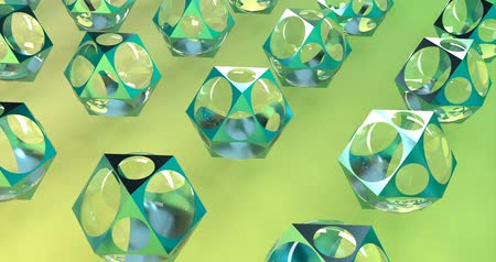 szmaragd : Green kaleidoscope in 3d style on blue background. Design element. Abstract kaleidoscope background. Graphic design geometric shape. 3d backdrop. Light painting. Wideo