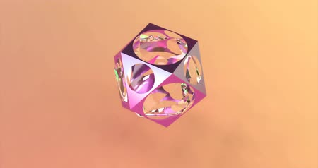 plakát : Abstract polygonal object with a glass sphere on the background of trendy colors. Able to loop seamless Dostupné videozáznamy