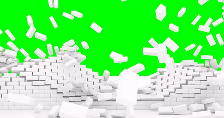 taş duvar : The white brick wall collapses and the bricks fall to the ground. The screen is green.