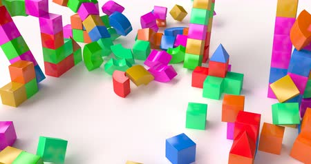 danger of collapse : Destruction of a toy building made of colored cubes.