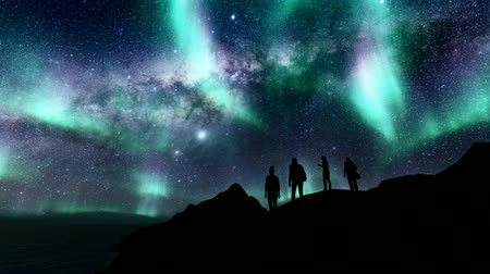 явление : Woman man girl boy. Nature outdoor landscape. Travel background. Northern lights. Love background. North road. Romantic couple silhouette. Night landscape. Стоковые видеозаписи