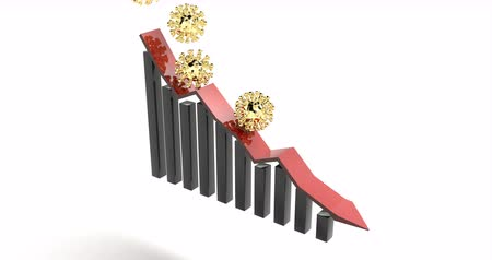 danger of collapse : Gold flu particles falling on red chart. Coronavirus outbreak. Stock illustration. Losing money.