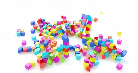 küpleri : Toy town colored cubes in 3d style on red background. Blue, green, yellow color. City background. Stok Video