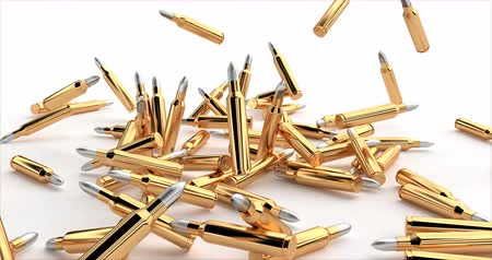 stockpile : Bullets fall in a pile.. 3d shot on golden backdrop. Macro shot. Military background.