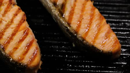 specialties : Preparing salmon fillets stock footage food Stock Footage