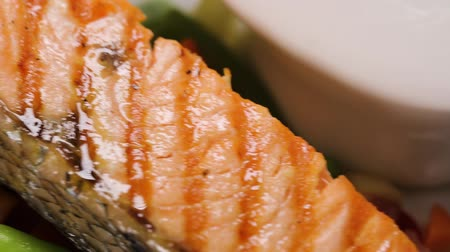 specialties : Preparing salmon fillets on the plate Stock Footage