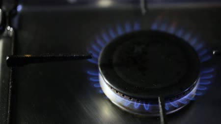 gas burner flame : Flame from the burner of a gas stove Stock Footage