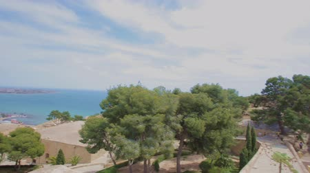 Коста : Panoramic view on sky, Alicante city and Mediterranean sea from the Mount Benacanti and  the Castle of Santa Barbara.