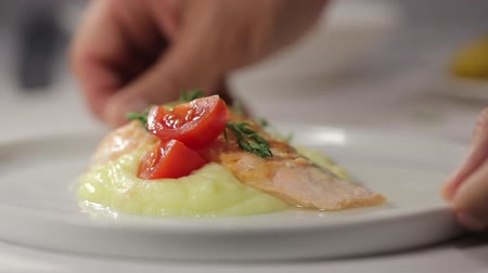 tomilho : Cooks hand holds a late with piece of red fish salmon with potato puree and decorated with thyme