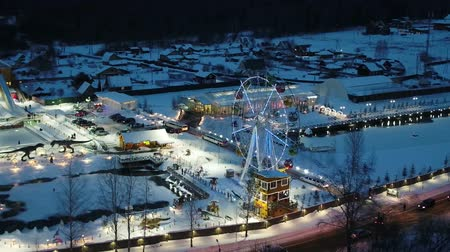 чертово : aerial photo of a winter night fucking Ferris wheel in the illumination, the pond and the dinosaurs Стоковые видеозаписи