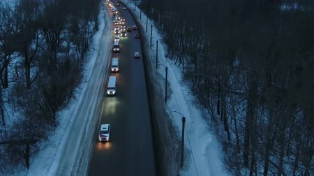 szegfű : aerial photography winter evening wedding convoy of limousines
