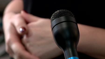 publicity : microphone close contact Stock Footage