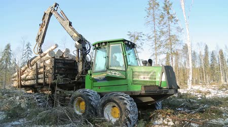 werk skidder loggen in de winter