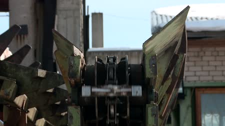 cutted : mechanical feeding of logs to the sawmill conveyor Stock Footage