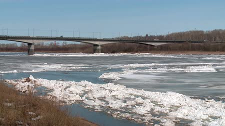 snowbound : ice floes float on the river in the spring during the ice drift Stock Footage