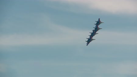 aerobatic : Russian air force aerobatic team Russian Knights SU-27 Stock Footage