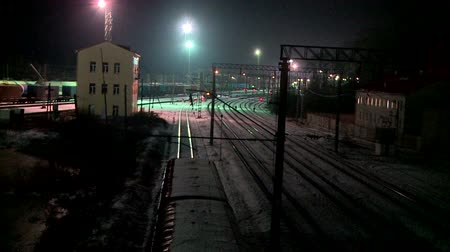sáně : electric train at night in Russia Dostupné videozáznamy