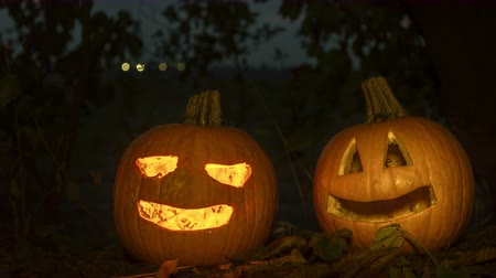 dia das bruxas : scary halloween pumpkins in the forest