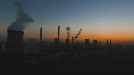 greenpeace : Aerial view of oil refinery at twilight