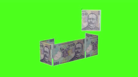 investimento : money falling into shape of a house. Romanian RON. Isolated on green screen Vídeos