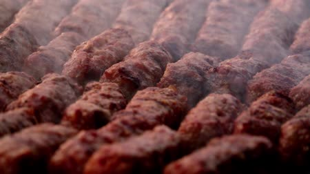 çeşniler : traditional food Meat Balls mici on grill Stok Video