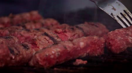 ham : traditional food Meat Balls mici on grill Stock Footage