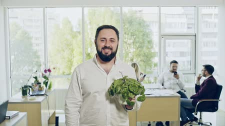 innovator : Cheerful man with flowerpot in office Stock Footage