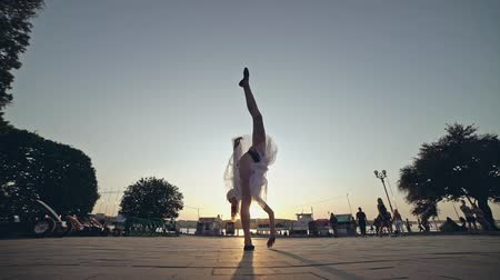 Performance on the city street. The art of dance. Classical ballet. Stock Footage