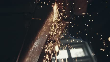 angle grinder : Bright burning sparks of cutting machine Stock Footage