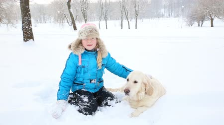 retriever : love for pets - the girl is resting with a golden retriever in the snow in the park Stock Footage