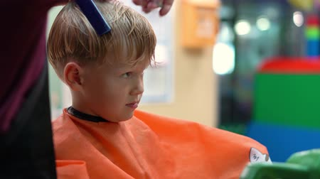 taberna : haircut of a little boy in a childrens hairdressing salon