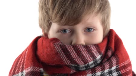 puericultura : portrait of a cold little boy wrapped up in a warm scarf in a studio on a white background