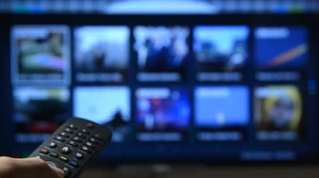 smart : Smart tv with apps and hand. Stock Footage